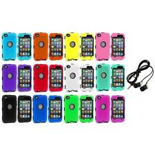 DELUXE COLOR BLACK CASE FOR IPOD TOUCH 4 4G 4TH GEN+PROTECTOR+HEADPHONES