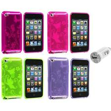 Butterfly Flower TPU Rubber Case Cover+USB Charger for iPod Touch 4th Gen 4G 4