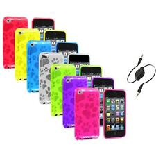 TPU Dog Paw Color Skin Case Cover+Aux Cable for Apple iPod Touch 4th Gen 4G 4