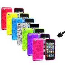 TPU Dog Paw Color Skin Case Cover+Mini Stylus for Apple iPod Touch 4th Gen 4G 4