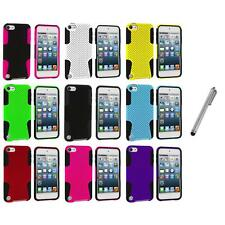 Hybrid Mesh Color Hard/Soft Case Cover+Metal Pen for iPod Touch 5th Gen 5G 5