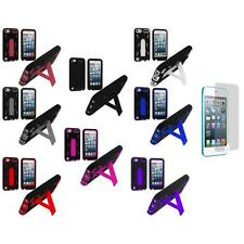 Color Black Hybrid Case Cover Stand+3X LCD Protector for iPod Touch 5th Gen 5G 5