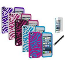 Zebra Hybrid Hard Soft Case Cover+LCD Film+Stylus for iPod Touch 5th Gen 5G
