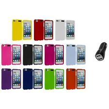 Color Snap-On Hard Rubberized Case Cover+2A Charger for iPod Touch 5th Gen 5G 5