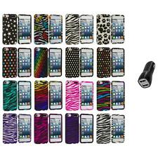 Zebra Polka Dot Hard Design Case Cover+2.1A Charger for iPod Touch 5th Gen 5G