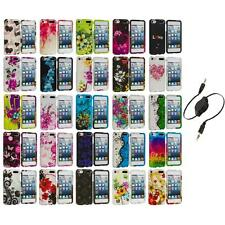 Flower Design Hard Rubberized Case Cover+Aux Cable for iPod Touch 5th Gen 5G