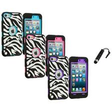 For Apple iPod Touch 5th Gen 5G Hybrid Zebra Case Cover+Screen Stylus Plug