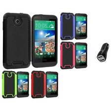 For HTC Desire 510 Hybrid Armor Rugged Hard Case Cover Accessory 2.1A Charger