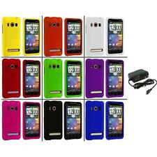 Color Hard Snap-On Rubberized Case Cover+Wall Charger for HTC Sprint EVO 4G