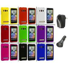 Color Hard Snap-On Rubberized Case Cover+2X Chargers for HTC Sprint EVO 4G