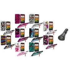 Design Hard Snap-On Case Cover Accessory+Car Charger for HTC EVO 4G LTE Sprint