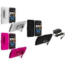 Color Hard Slide Snap-On Case Cover Holster Stand+Wall Charger for HTC One M7