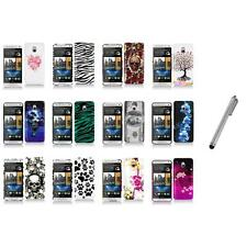 For HTC One Mini M4 Design Hard Snap-On Case Skin Cover Accessory+Stylus Pen