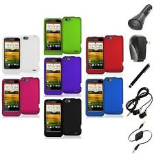 Color Hard Snap-On Rubberized Case Cover Accessory+Accessories for HTC One V