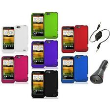 Color Hard Snap-On Rubberized Case Cover Accessory+Aux+Charger for HTC One V