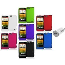Color Hard Snap-On Rubberized Case Cover Accessory+USB Charger for HTC One V