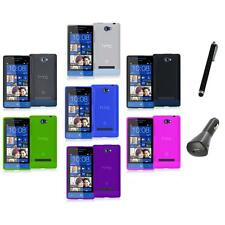 Color TPU Plain Case Cover Accessory+Charger+Pen for HTC Windows Phone 8S
