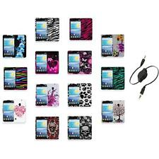 For LG Lucid 2 VS870 Color Hard Design Rubberized Case Cover+Aux Cable