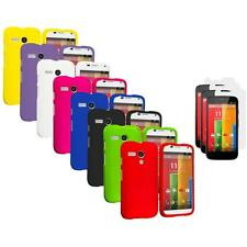For Motorola Moto G Hard Rubberized Snap-On Case Cover 3X Screen Protector
