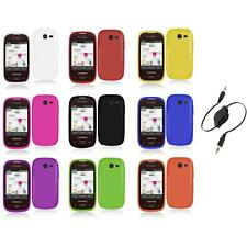 For Samsung Gravity Q Hard Snap-On Rubberized Case Cover Accessory+Aux Cable