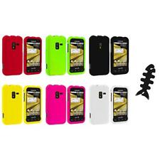Color Hard Snap-On Rubberized Case Cover+Cable Wrap for Samsung Conquer 4G D600