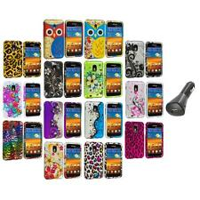 Design Hard Rubberized Case Cover+Car Charger for Samsung Sprint Galaxy S2 S II