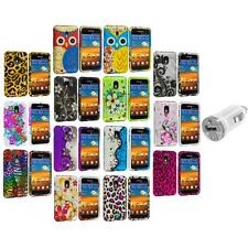 Design Hard Rubberized Case Cover+USB Charger for Samsung Sprint Galaxy S2 S II