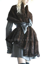 KNITTED MINK FUR SCARF WRAP JACKET SABLE COLOR KU257