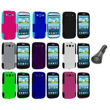 Color Hybrid Mesh Hard Soft Case Cover+Car Charger for Samsung Galaxy S3 S III