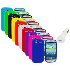 Silicone Rubber Color Case Cover+White Charger for Samsung Galaxy S III S3 i9300