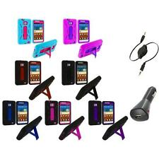 Hybrid Case Cover Stand+Aux+Charger for Samsung Attain Galaxy S2 II i9100