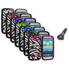 Zebra Hybrid Case Cover+Built Protector+Car Charger for Samsung Galaxy S3 S III