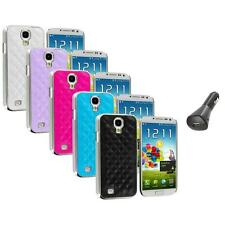 Leather Quilted Chrome Case Cover+Car Charger for Samsung Galaxy S4 S IV i9500