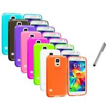For Samsung Galaxy S5 SV TPU Transparent Color Soft Case Cover+Stylus Pen