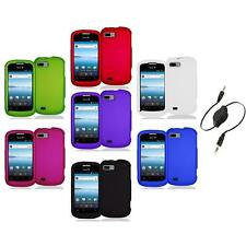 Color Hard Snap-On Rubberized Case Cover Accessory+Aux Cable for ZTE Fury N850