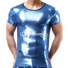 Mens Patent Leather Shiny Sexy Top T-shirt Clubwear Undershirts Muscle Costume