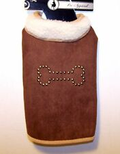 New BOW WOW PET Puppy Dog Coat SM MED Chose Size &Color SUEDE LOOK Pet Apparl