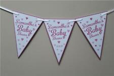 Personalised Bunting Pink Blue Yellow Purple Baby Shower Party Banner Garland