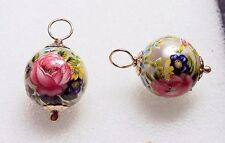 12mm Tensha Pearl with Roses INTERCHANGEABLE Earring Charms Rose or YG Filled