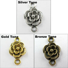15 New Charm Antiqued Silver Gold Bronze Tone Flower Pendants Connectors 12x20mm