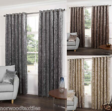 Plush Crushed Velour Faux Velvet Eyelet Ring Top Lined Ready Made Pair Curtains
