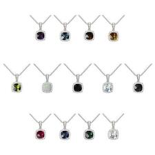 Sterling Silver 925 Checkerboard Cushion Gemstone Halo Pendant Necklace