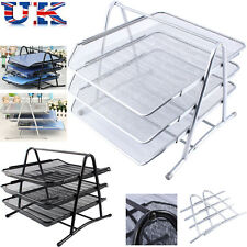 Wire Mesh Document 3 Tier Tray Office Paper Tidy Organiser Storage Filing Holder