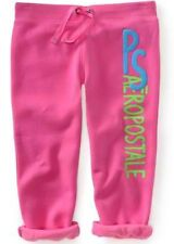 Pink PS Aeropostale Girls Kids Puffy Cinched Drawstring Fleece Capris Pants Sz 4