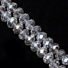 Wholesale Clear White Crystal Glass Rondelle Faceted Loose Spacer Bead 6/8/10mm