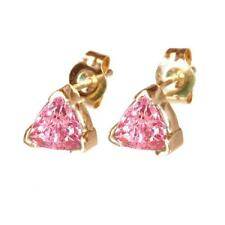 Trillion Pink Sapphire Stud Earrings 14K Yellow or White Gold