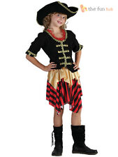 Girls Pirate Costume + Hat Caribbean Fancy Dress Kids Party Costume Outfit Child