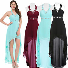 High-Low Formal Halter Dress Wedding Bridesmaid Evening Prom Cocktail Grad Gown