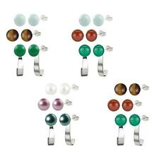 Sterling Silver 8-8.5mm Button Shaped Pearl, Gemstone Stud Earrings & Jacket Set