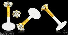 14k Carat Gold Bioplast Labret Square Claw Set Gem Lip Monroe Tragus Bar 16g